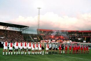 Teamfoto Ajax vs Bayern CL Olympisch Stadion
