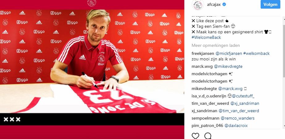 Siem de Jong terug bij Ajax